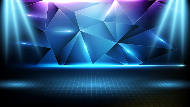 Abstracte futuristische achtergrond van blauw leeg podium, driehoek patroon geometrische en neon verlichting spotlight podium