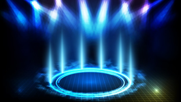 Abstracte futuristische achtergrond van blauw leeg podium en cirkel neonverlichting podium met rook