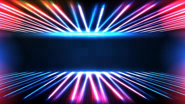 Abstracte futuristische achtergrond van blauw leeg podium en neonverlichting spotlgiht fase achtergrond