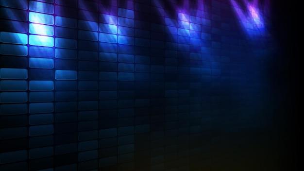 Abstracte futuristische achtergrond van blauwe baksteen en verlichting spotlgiht stage background