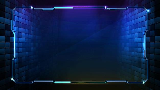 Abstracte futuristische achtergrond van blauwe gloeiende technologie frame hud ui