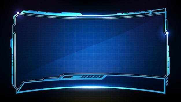 Abstracte futuristische achtergrond van blauwe gloeiende technologie sci fi frame hud ui lager derde