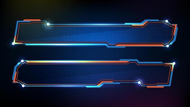 Abstracte futuristische achtergrond van blauwe gloeiende technologie sci fi frame, hud ui, onderste derde knoppenbalk