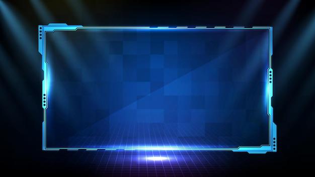 Abstracte futuristische achtergrond van blauwe gloeiende technologie sci fi frame hud ui