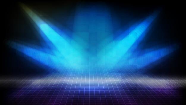 Abstracte futuristische achtergrond van blauwe lege fase trappen bedekt met rode loper en spotlgiht podium achtergrondverlichting