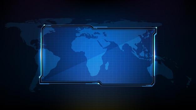 Abstracte futuristische achtergrond van blauwe technologie sci fi frame, hud ui onderwerp, onderste derde knoppenbalk
