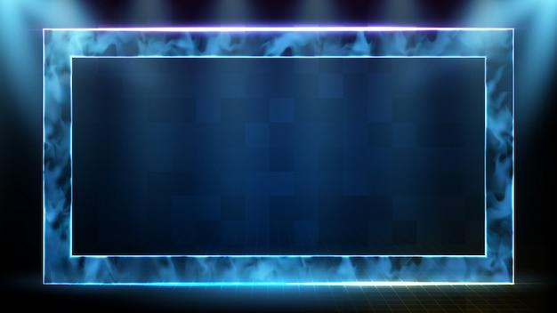 Abstracte futuristische achtergrond van technologie neon vierkant frame met rook en data sci fi hud hologram frame sjabloon