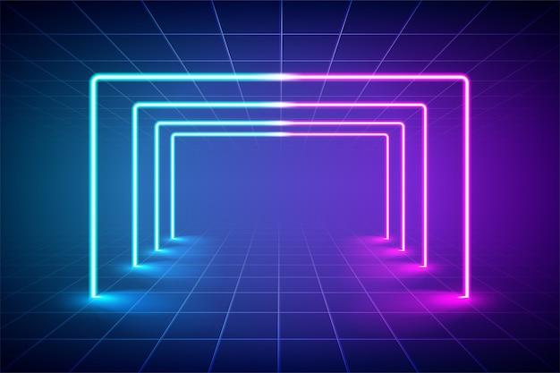Abstracte futuristische blauwe en roze neonlichtachtergrond, reflecterende lege ruimte met neonbuis