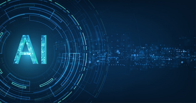 Abstracte futuristische digitaal en technologie op donkerblauw