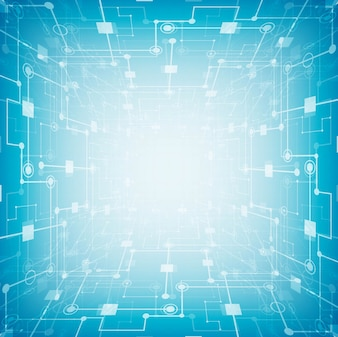 Abstracte futuristische kringsraad, hi-tech het concepten blauwe achtergrond van de computer digitale technologie
