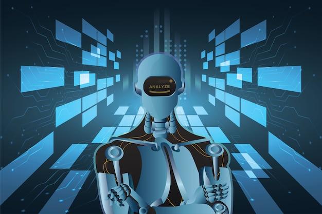 Abstracte futuristische kunstmatige intelligentie robot met printplaat stijl