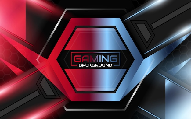 Abstracte futuristische lichtrode en blauwe gaming-achtergrond
