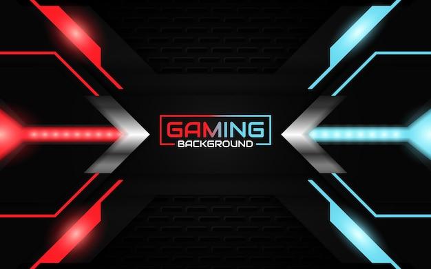 Abstracte futuristische lichtrode en blauwe gamingachtergrond