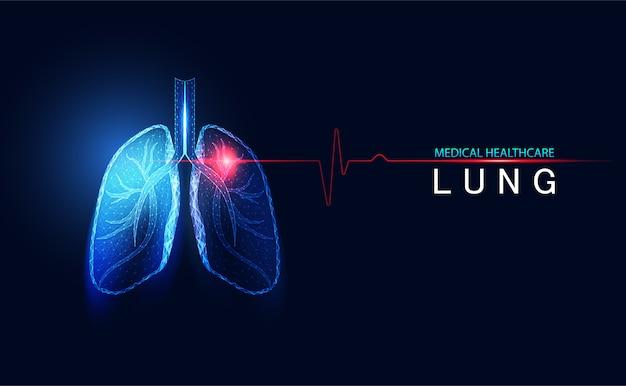 Abstracte futuristische menselijke longen die draadframe ademen