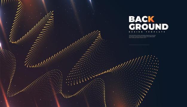 Abstracte futuristische technische achtergrond met gestippelde golf en stralen effect. geschikt voor omslag, presentatie, banner of bestemmingspagina Premium Vector
