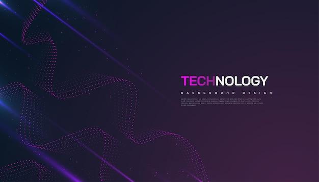 Abstracte futuristische technische achtergrond met gestippelde golf en stralen effect. geschikt voor omslag, presentatie, banner of bestemmingspagina