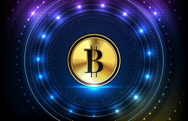 Abstracte futuristische technische achtergrond van bitcoin digitale cryptocurrency en hud scherm ui-interface