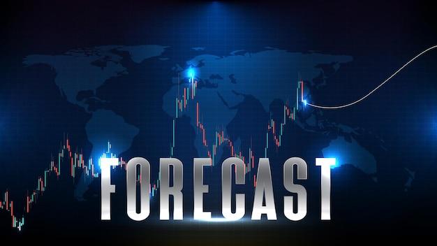 Abstracte futuristische technische achtergrond van het voorspellen van de aandelenmarkt