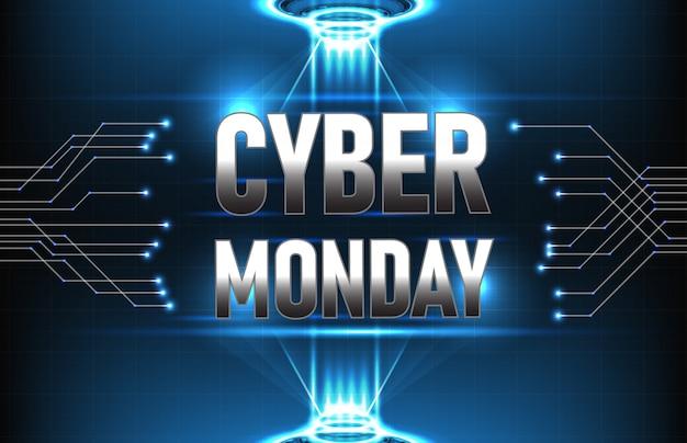 Abstracte futuristische technologie als achtergrond van cybermaandag met verbindingslijn en hud