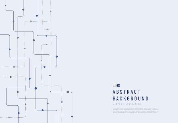 Abstracte futuristische technologieachtergrond donkerblauwe en grijze kleur gebogen lijnen stippen