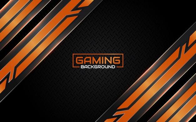 Abstracte futuristische zwart en oranje gaming achtergrond