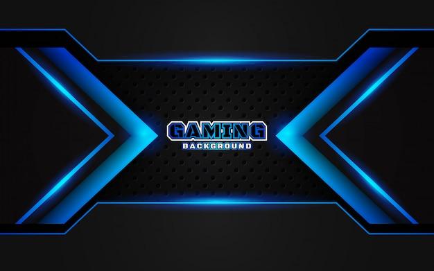 Abstracte futuristische zwarte en blauwe gaming achtergrond