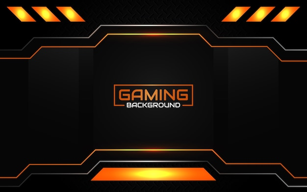 Abstracte futuristische zwarte en oranje gamingachtergrond