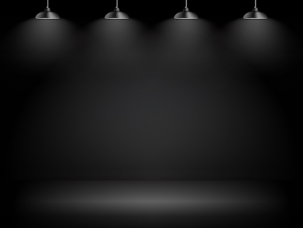 Abstracte galerij zwarte achtergrond met verlichtingslamp en copyspace