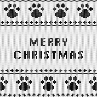 Abstracte gebreide merry christmas-groet met poot