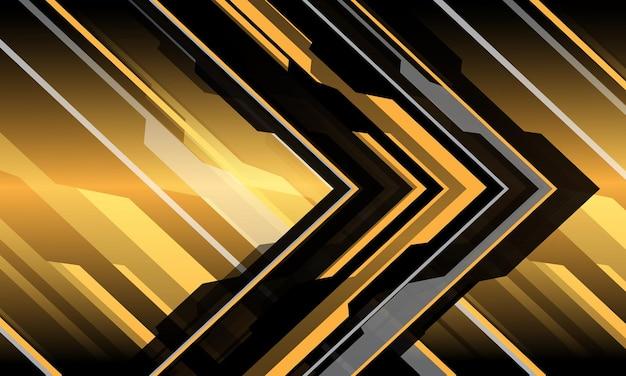 Abstracte geel grijs zwart circuit cyber pijl geometrische richting moderne futuristische technische achtergrond