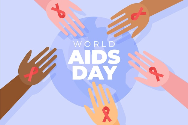 Abstracte geïllustreerde wereld aids dag concept