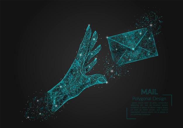 Abstracte geïsoleerde menselijke hand die brief veelhoekige illustratie verzendt