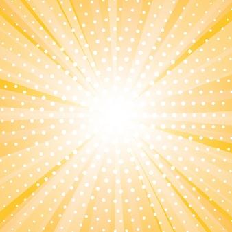 Abstracte gele achtergrond met zonnestraal en stippen.