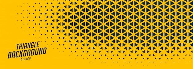 Abstracte gele brede banner met driehoekige vormen