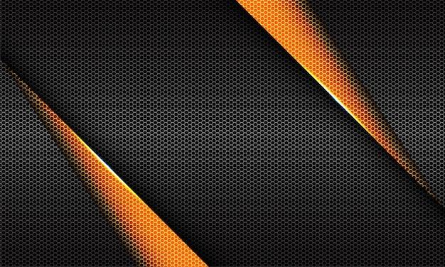 Abstracte gele driehoek grijze metalen zeshoek mesh geometrisch ontwerp luxe futuristische achtergrond
