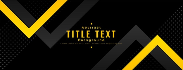 Abstracte gele en zwarte brede banner