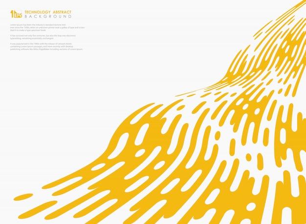 Abstracte gele kleur tech streep golvende lijn decoratie op witte achtergrond