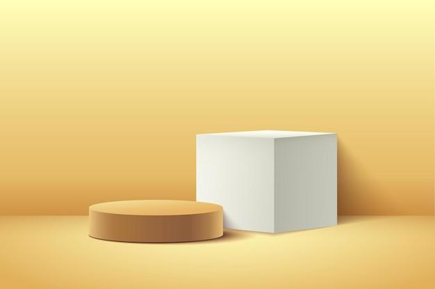 Abstracte gele kubus en ronde display voor product.