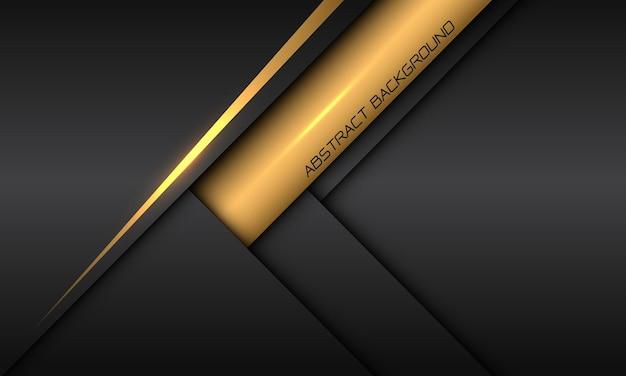 Abstracte gele label schaduw lijn pijl richting op donkergrijs metallic met lege ruimte moderne futuristische technische achtergrond