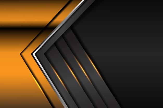 Abstracte gele lichte pijl metaalgradiënt op donkergrijze futuristische ontwerp moderne luxe