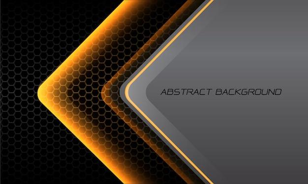 Abstracte gele lichte pijlrichting op donkere zeshoekige grijze metalen lege ruimte