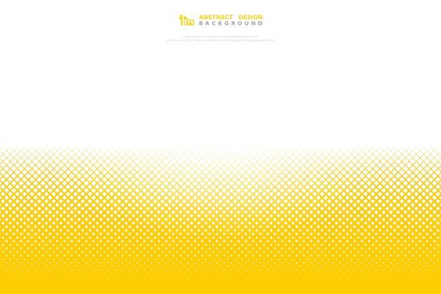 Abstracte gele vierkante vierkante decoratie van het kleuren halftone minimale geometrische patroon.