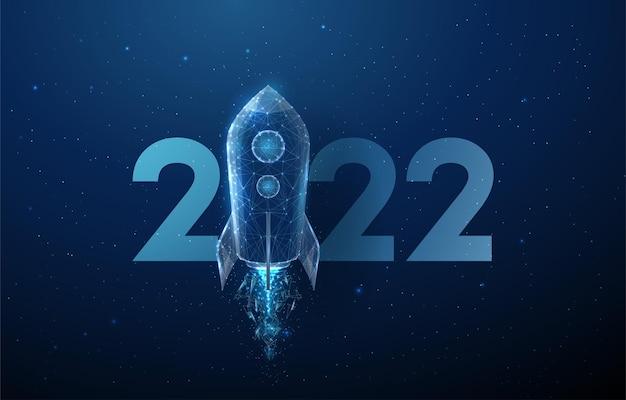 Abstracte gelukkig 2022 nieuwjaar wenskaart raketlancering