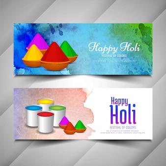 Abstracte gelukkige holi-festival geplaatste banners