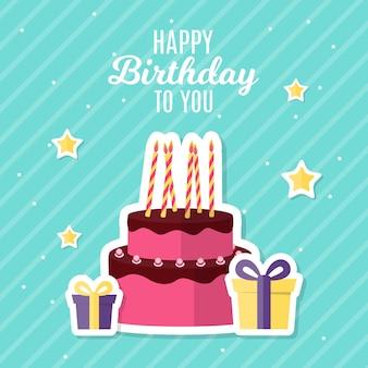 Abstracte gelukkige verjaardag achtergrond kaartsjabloon met taart vectorillustratie