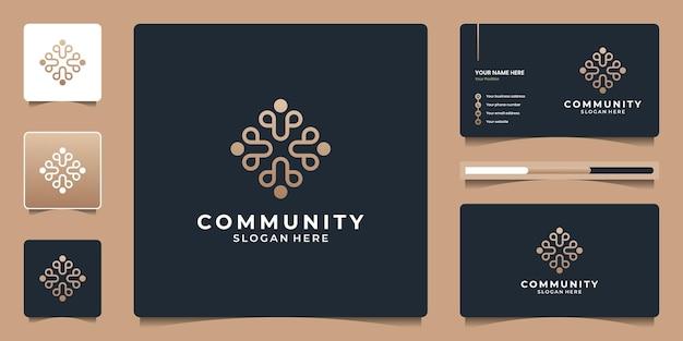 Abstracte gemeenschap en sociale groep met geometrische menselijke zorg