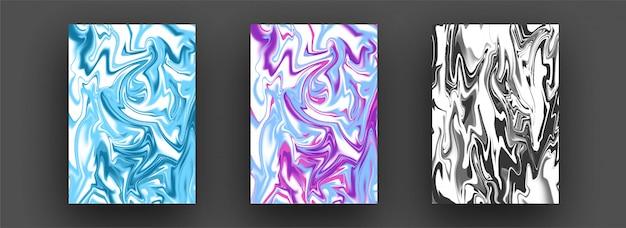 Abstracte gemengde vloeibare creatieve sjablonen, kaarten, gekleurde omslagen ingesteld