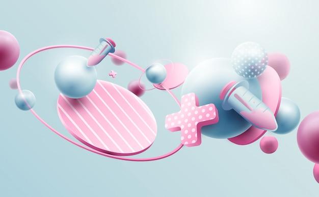 Abstracte geometrische 3d-effect composities futuristische achtergrond