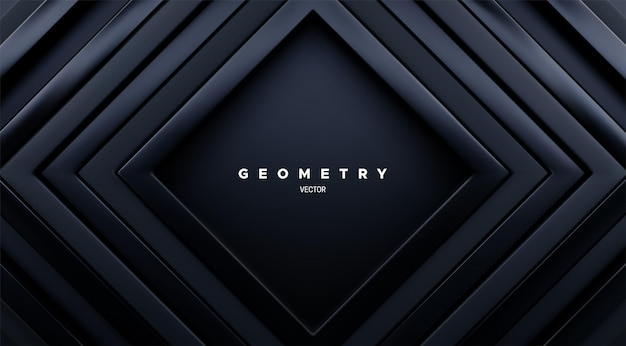 Abstracte geometrische achtergrond met concentrische zwarte vierkante kaders