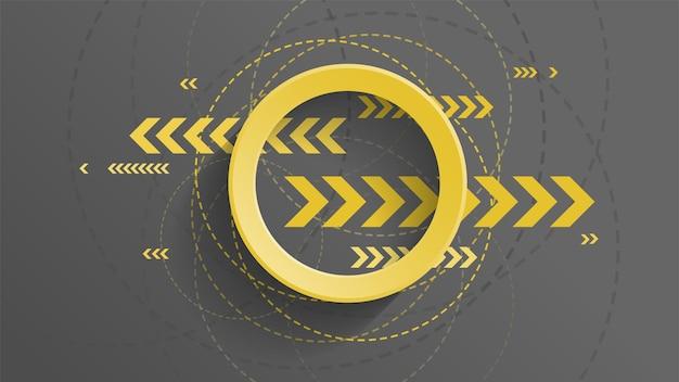 Abstracte geometrische achtergrond met gele cirkel en gele pijl op donkere background